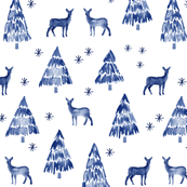 winter deer - blue