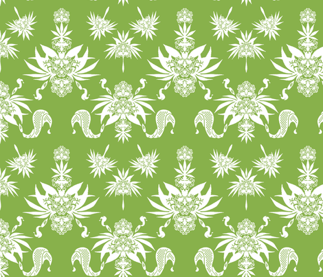 Country Cannabis Greenery Upholstery fabric by poofybird on Spoonflower - custom fabric