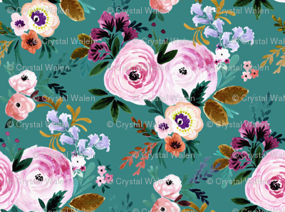 Victoria Floral teal