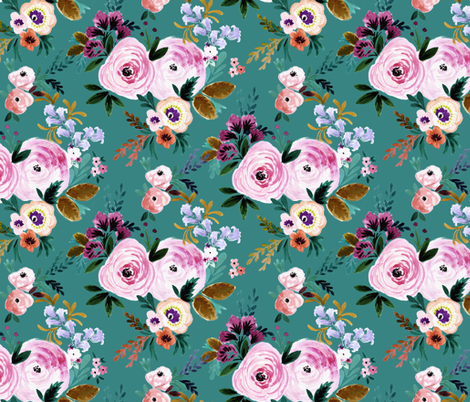 Victoria-Floral-teal fabric by crystal_walen on Spoonflower - custom fabric