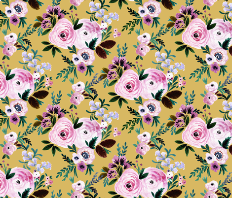 Victoria-Floral-mustard fabric by crystal_walen on Spoonflower - custom fabric