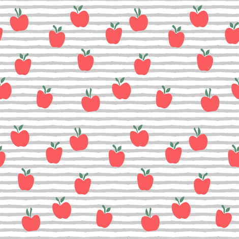 apple picking - grey stripes fabric by littlearrowdesign on Spoonflower - custom fabric