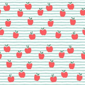 apple picking - on dark mint stripes