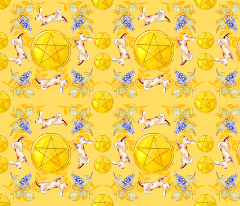 Pentacles Yellow fabric by moon_hart on Spoonflower - custom fabric