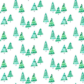 holiday trees scattered - whimsical green watercolor