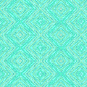 Optic Waves Turquoise and Green Vivid