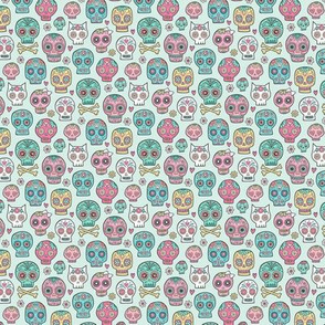 Sugar Skulls on Green Mint Tiny Small