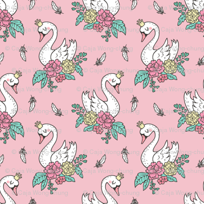 Dreamy Swan Swans & Vintage Boho Flowers and Feathers on Pink  Tiny Small