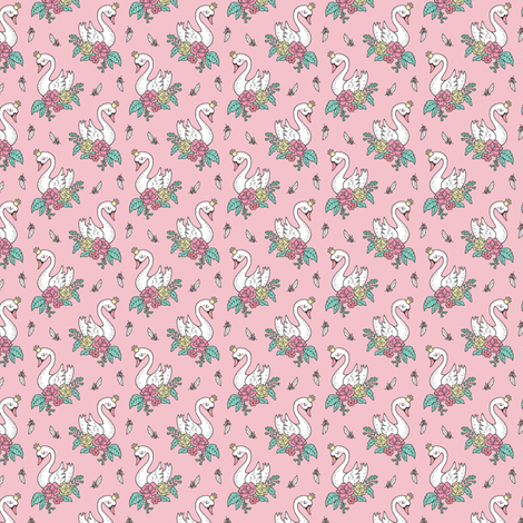 Dreamy Swan Swans & Vintage Boho Flowers and Feathers on Pink  Tiny Small fabric by caja_design on Spoonflower - custom fabric