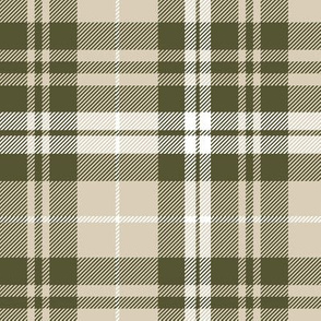 fall plaid || tan, dark olive, white