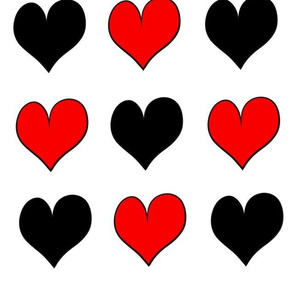 Black red hearts