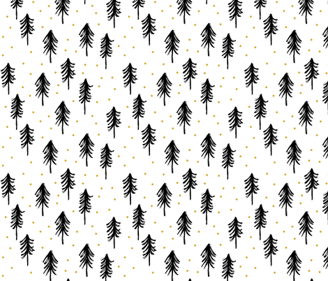 trees - black w/ gold dots fabric by littlearrowdesign on Spoonflower - custom fabric