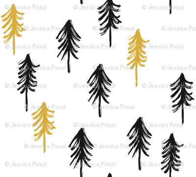 trees - black and gold fabric