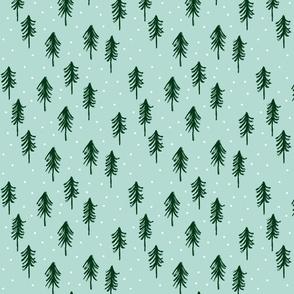 trees - green on dark mint