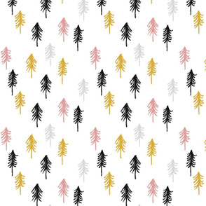 trees - black, gold, pink