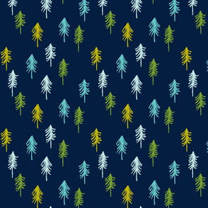 trees - multi blue and green on navy