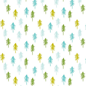 trees - multi blue and green