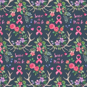 Save a Rack - antlers and watercolor flowers on dark grey blue - extra small