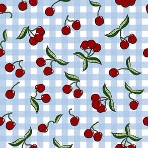 Cherries on Light Blue Gingham Check