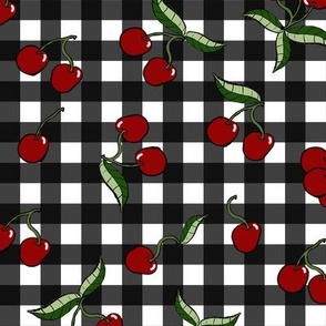 Retro Cherries on Black Gingham