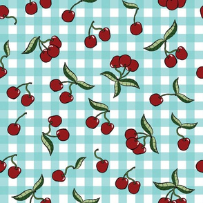 Cherries on Teal Gingham Check