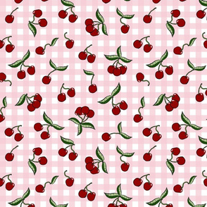 Cherries on Pink Gingham Check