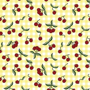 Cherries on Yellow Gingham Check