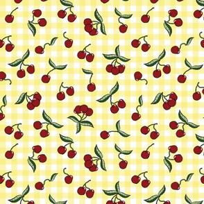 Cherries on Yellow Gingham Check