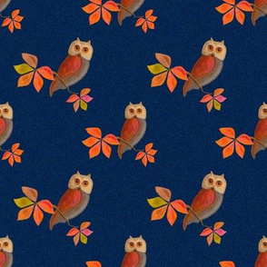 Friendly Owls with Dark Blue Background