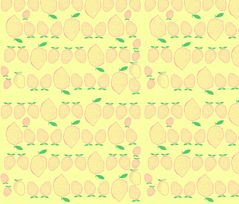 pink lemonade on yellow fabric by ecologies on Spoonflower - custom fabric