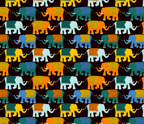 Elephant Check (circus dark) fabric by seesawboomerang on Spoonflower - custom fabric