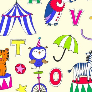 Animal Circus Alphabet - multi on cream