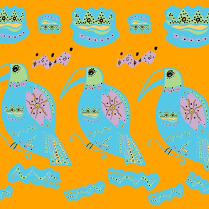 Rainforest Toucans on Orange