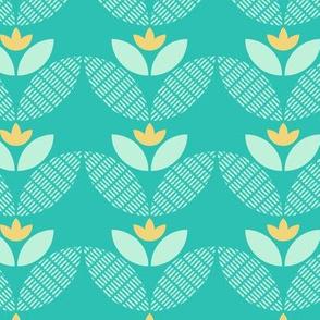 Yellow and Aqua Geometric Flowers
