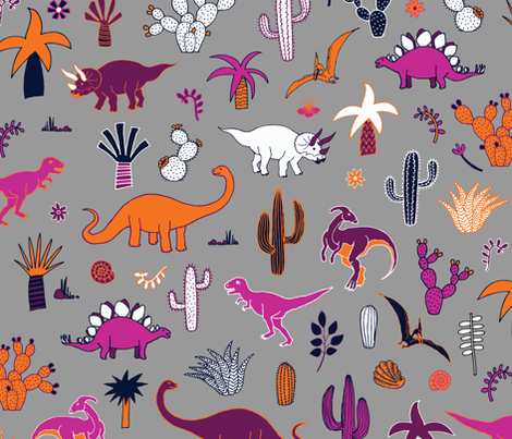 Dinosaur desert purple orange on grey fabric cecca for Grey dinosaur fabric