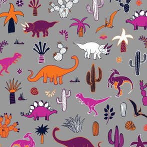 Dinosaur Desert  - purple & orange on grey