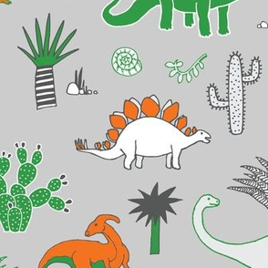 Dinosaur Desert - orange, green & white