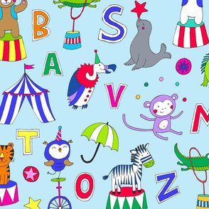 Animal Circus Alphabet - multi on blue