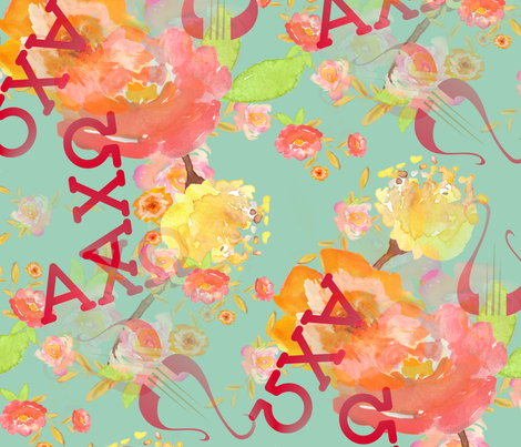 Alpha Chi Omega - Teal fabric by one_bee_lane on Spoonflower - custom fabric