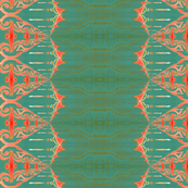 LOU (medium) - Pearl and Maude | Coral Turquoise Green Baroque Vertical Stripe