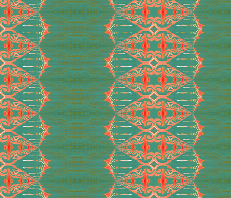 LOU (large) - Pearl and Maude | Coral Turquoise Green Baroque Vertical Stripe fabric by pearl_and_maude on Spoonflower - custom fabric
