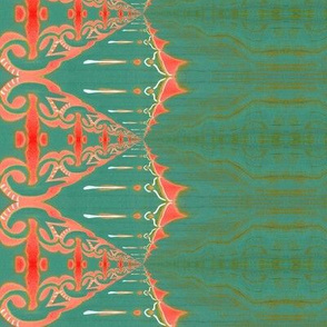 LOU (large) - Pearl and Maude | Coral Turquoise Green Baroque Vertical Stripe