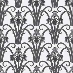 Art Nouveau Irises  -  Grey on White