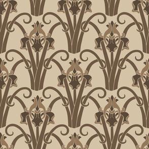 Art Nouveau Irises  -  Sepia Toned