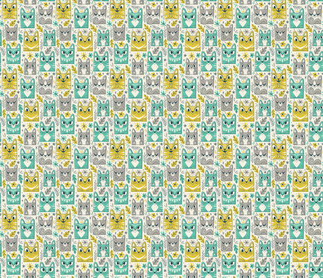 Tiki Kitty fabric by therewillbecute on Spoonflower - custom fabric