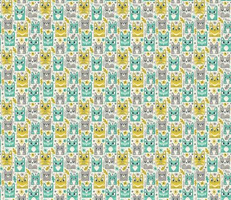 Tiki Kitty fabric by therewillbecute on Spoonflower - custom fabric