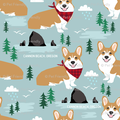 corgis at cannon beach fabric dog dogs haystack rock dogs