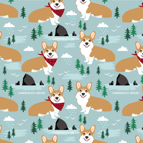 corgis at cannon beach fabric dog dogs haystack rock dogs fabric by petfriendly on Spoonflower - custom fabric