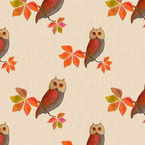Friendly Owls on Ivory Background