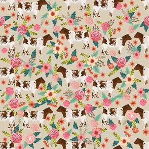 shorthorn cattle fabric cow farm and florals fabric - sand